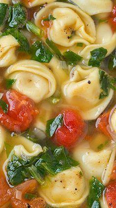 Fresh Spinach Tomato and Garlic Tortellini Soup Recipe