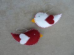 felt birds   Pair of Felt Bird Ornaments.   Christmas