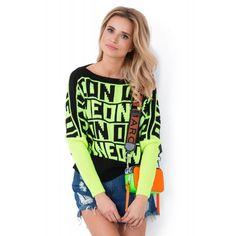 Pulover sport in doua tonuri cu inscriptii ON NEON-2 Neon, Blouse, Women, Fashion, Elegant, Tricot, Moda, Fashion Styles, Neon Colors