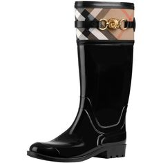 Burberry Check Detail Rain Boots ❤ liked on Polyvore