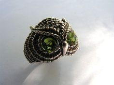 Sterling Silver Owl Ring With Peridot Eyes.