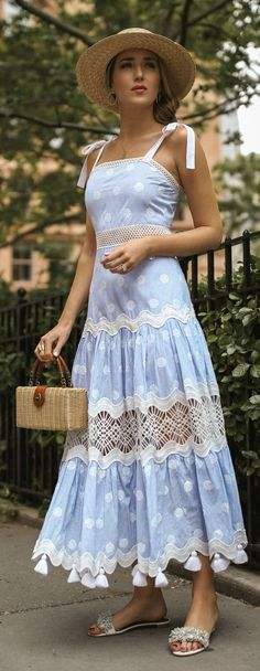 Click for outfit details! // Light blue polka dot sleeveless tiered maxi dress, straw tan bolero hat, woven tan box bag, white slides with fringe {Alexis, Janessa Leone, Aquazurra, classic style, summer outfits, fashion blogger}