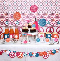 Peace, Love and Party Birthday PRINTABLE Party Collection - You Customize EDITABLE TEXT Instant Download via Etsy