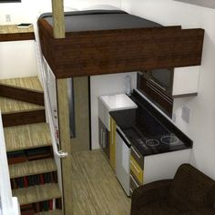 What alternatives are there to the tiny house ladder? Find out how to have stairs instead of a ladder in your tiny house to reach your loft. Tiny House Stairs, Tiny House Living, Tiny House Plans, Tiny House On Wheels, House Ladder, Loft House, Mini Loft, Tiny Spaces, Small Apartments