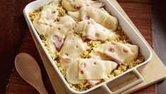 Recipe, grocery list, and nutrition info for Chicken Cordon Bleu and Rice Casserole. Dinner for eight using chicken breasts? Go Cordon Bleu with ham and Swiss cheese. Tapenade, Hard Boiled, Casserole Dishes, Casserole Recipes, Burrito Casserole, Chicken Casserole, Turkey Recipes, Chicken Recipes, Chicken Meals