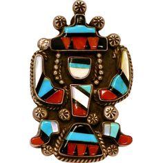 Zuni Knifewing Inlaid Sterling Turquoise Ring Size 7 to 7 1/2. Magnificent detail and attention to craftmanship are evident in this stunning ring.