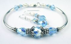 Damali Sterling Silver Crystal Bracelet w/ Earrings inMarch Aquamarine March Birthstones BangleSMALL 6 1/2 In. Damali. $89.95