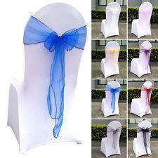New Wedding Chair Sash Organza Bow Band Ribbon Cover Romantic Banquet Decor 25PC