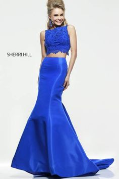 SHERRI HILL Prom Dresses 2015 # 21372 Midriff baring lace top with scalloped border is beaded to perfection. Fitted taffeta skirt with slight sweep train polishes off the look.
