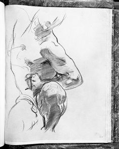 John Singer Sargent - Study of Torso and Leg for one of Angels at Right, Israel and the Law, Boston Public Library male-nudes-from-the-fogg-museum Gesture Drawing, Life Drawing, Drawing Sketches, Painting & Drawing, Art Drawings, Figure Drawings, Sketching, Harvard Art Museum, John Singer Sargent