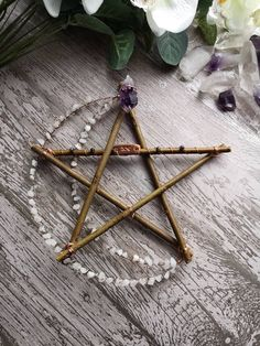 ɮǟɮʏ աɨȶƈɦ — Crystal moon pentagram - Handmade Everything Autel Wiccan, Wiccan Decor, Wiccan Crafts, Witchcraft, Magick, Handmade Home, Craft Projects, Projects To Try, Diy And Crafts