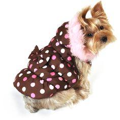 SimplyDog Puffer Dog Jacket, Brown, Pink Dot Print, <3 (walmart)