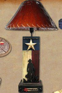 Western Decor Rustic Cowboy Cowgirl Texas State Flag Table Desk Lamp, in Western Lamps, Western Decor, Rustic Decor, Man Cave Study Ideas, Cowboy Bedroom, Texas Crafts, Western Crafts, Western Parties, My Living Room