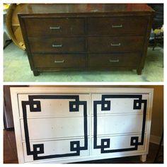 Greek Key designed furniture makeover- before & after