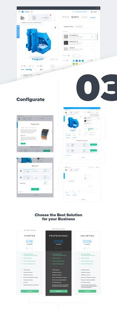 UI/UX design for fully configurable SaaS application sits directly on your website and allows your clients to upload 3D files and order directly from the application.