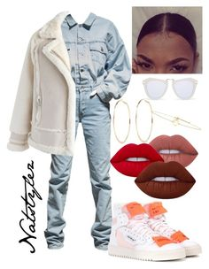 """""""White in winter"""" by natstylez ❤ liked on Polyvore featuring Off-White, Chicwish, Lime Crime, River Island, Karen Walker and No 13"""