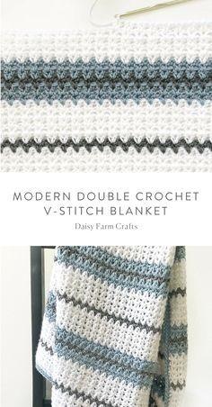 Free Pattern - Modern Double Crochet V-Stitch Blanket #crochet