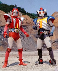 Grounzel (Red) on the Left and Skyzel (Blue) on the Right. Japanese Robot, Japanese Monster, Japanese Cartoon, Hero Tv Show, Japanese Superheroes, Legion Of Superheroes, Hero Costumes, Kamen Rider, Fantasy Movies
