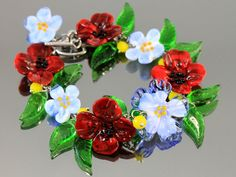 Lampwork Flowers Bracelet - by JewelryBeadsByKatie
