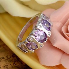 Silver Amethyst Crystal Ring - Stamped 925 Sterling Silver by PsychicSpiritReading on Etsy