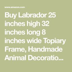 Buy Labrador 25 inches high 32 inches long 8 inches wide Topiary Frame, Handmade Animal Decoration: Plant Cages & Supports - Amazon.com ✓ FREE DELIVERY possible on eligible purchases