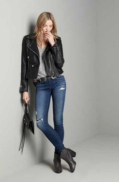 BLANKNYC Jacket, Jeans & Leith Top Outfit with Accessories