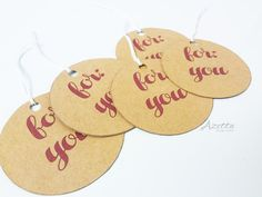Craft paper gift tags  Simple For You Gift by AzettaDesignStudio