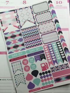 Aztec Sticker set for Erin Condren Life Planner, Plum Paper Planner, Filofax