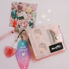 Continuing from my last post: I have a charm on my almostblue wallet! The hotel tag keyring is by papricas on etsy/suqasight on twt! Do you have an almostblue wallet? What do you display on yours? Acrylic Charms, Resin Charms, Kpop Aesthetic, Pink Aesthetic, All About Ami, Cute Wallets, Bts Concert, Kpop Merch, Journal Stickers