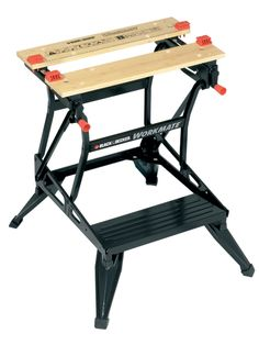 Dual working heights allows use as a workbench, bench tool stand, vice, or sawhorse. Folds flat for compact storage and easy transport. Workbench Stool, Workbench Plans Diy, Portable Workbench, Industrial Workbench, Built In Storage, Tool Storage, Tool Stand, Drawer Shelves, Power Tool Accessories