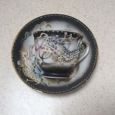 Delicate Tea Cup and Saucer with Raised Dragon Hand Painted Japan         #Asian #unknown