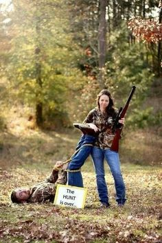 Country Engagement Photos The hunt is over love funny cute photography wedding outdoors trees country hunting guns engagement - Camo Wedding, Wedding Pictures, Dream Wedding, Rustic Wedding, Hunting Wedding, Spring Wedding, Wedding Hair, Wedding Dresses, Garden Wedding