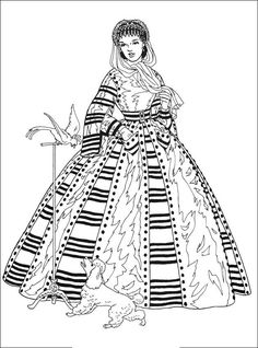 Vintage Fashion Coloring Page Cool Coloring Pages, Adult Coloring Pages, Coloring Book Pages, Victorian Fashion, Vintage Fashion, Victorian Women, Fashion Illustration Collage, Paper Dolls Printable, Girly