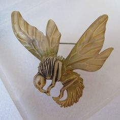 RESERVED EILEEN IF YOU ARE NOT E, please do NOT buy, thank you. A Spectacular Find, French Art Nouveau Age, Circa 1900, Hand Carved Horn Insect, Wasp or Bee Brooch Pin. Jewelry of the Art Nouveau were steeped in symbolism, The Sacred and/or Ancient Symbol of the Bee was believed to connect the natural world to the under or netherworld in and around the Aegean cultures. As Is Condition, see below. * Attributed to the workshop of Georges Pierre & Elizabeth Bonte * Something I found and thought…