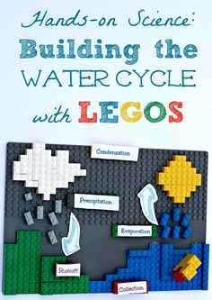 Hands-on Science: Create your own 3D water cycle project using LEGOS! This is an awesome STEM activity for kids in elementary or middle school! More