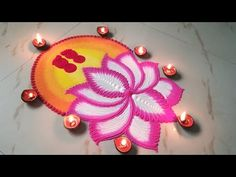 Navratri Dussehra Laxmi Pooja Rangoli by Sangeeta Easy Rangoli Designs Videos, Indian Rangoli Designs, Simple Rangoli Designs Images, Rangoli Designs Latest, Rangoli Designs Flower, Colorful Rangoli Designs, Rangoli Ideas, Flower Rangoli, Beautiful Rangoli Designs