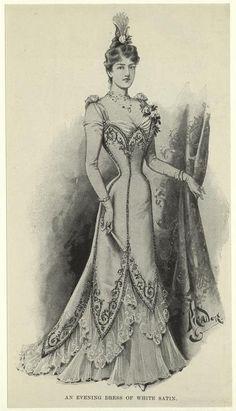 An evening dress of white satin. 1899