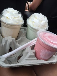 I Think This Is Mcdonalds Milkshakes This Strawberry One And Two Vanilla