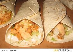 Mexická tortilla s kuřecím masem recept - TopRecepty.cz Pita, No Salt Recipes, Sandwich Recipes, Fajitas, Junk Food, Fresh Rolls, Sandwiches, Good Food, Food And Drink