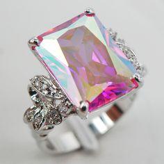 Rose Rainbow Crystal Zircon White Crystal Zircon Women 925 Sterling Silver Ring F908 Size 6 7 8 9 10