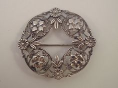 Sterling Silver Wreath Pin by ByChanceVintage on Etsy, $20.00