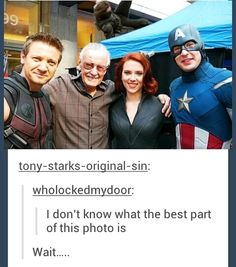 Cap has his old uniform on but bucky and clint are there?<<that is the Avengers assemble cap uniform. But since Bucky is there it is probs photoshopped but idk Marvel Avengers, Marvel Jokes, Marvel Logo, Avengers Memes, Marvel Funny, Marvel Dc Comics, Funny Comics, Avengers Cast, Marvel Heroes