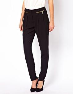 Warehouse black zip-leg pant
