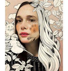 Schneewittchen Annette no1  #drawing #sugah #illustration #zeichnung #people #carinacrenshaw #portrait #illustratorenhamburg #illustratorin #sugahdesign #portfolio #illustrationportfolio #collage #photograpy #mixedmedia