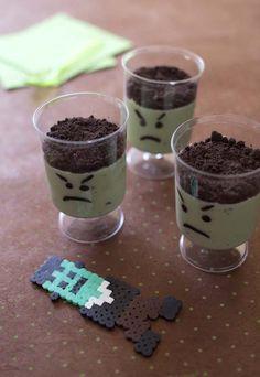 Recette Mousse Frankenstein au chocolat blanc, oreo et spiruline - Halloween recipe
