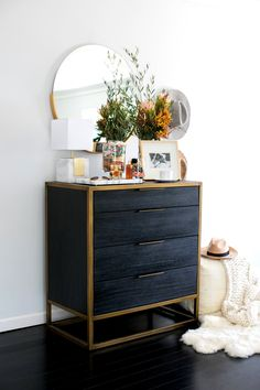 Black dresser by Crate and Barrel