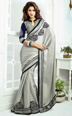 GREY & BLUE SATIN SILK LATEST SAREE - SKY 1004