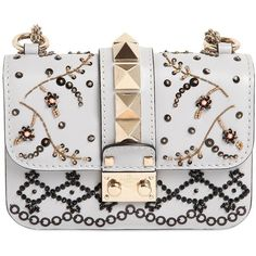Valentino Women Small Beaded Rockstud Leather Bag (7.420 BRL) ❤ liked on Polyvore featuring bags, handbags, purses, borse, clutches, pastel grey, grey leather handbags, leather hand bags, grey purse and gray purse