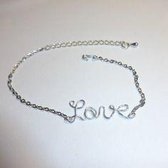 Bracelet chaîne inscription en fil alu