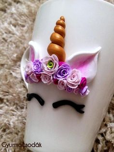 Unicorn Flower Power Mug Polymer Clay Rose Headband Polymer